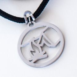 Happy Camper-Campfire Pendant   Stainless Steel   3mm Polycord