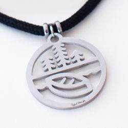 Happy Camper-Canoe Pendant | Stainless Steel | 3mm Polycord