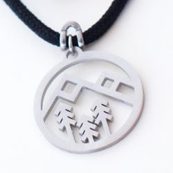 Happy Camper-Geo Mountain Pendant | Stainless Steel | 3mm Polycord