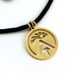 AT Sunburst Logo Pendant | Faux Gold Stainless Steel | 2mm Polycord