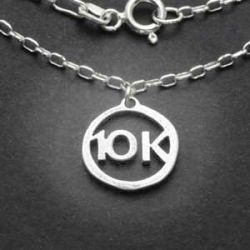 10K Charm Necklace | Sterling Silver | 18 inch Silver Chain