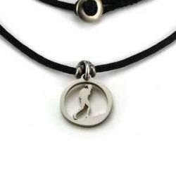 Hiking Gal Charm | Stainless Steel | 1.5mm Polycord
