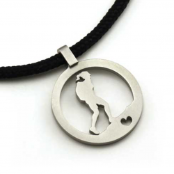 Hiking Gal Pendant | Stainless Steel | 2mm Polycord