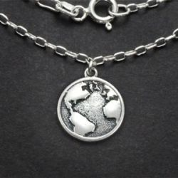 Globe Charm Necklace | Sterling Silver | 18 inch Silver Chain