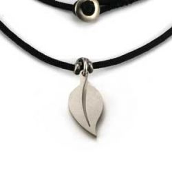 Leaf Charm | Stainless Steel | 1.5mm Polycord