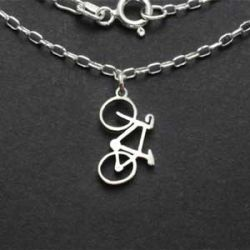 Road Bike Necklace | Sterling Silver | 18 inch Silver Chain