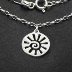 Sun Charm Necklace   Sterling Silver   18 inch Silver Chain