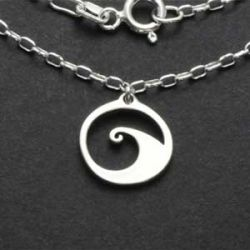 Wave Charm Necklace | Sterling Silver | 18 inch Silver Chain