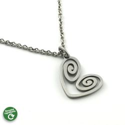 Heart Spiral Necklace | Stainless Steel | 18 inch Stainless Steel Chain