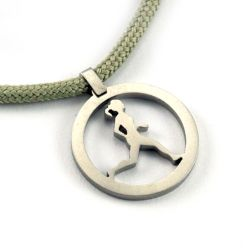 Running Gal Pendant | Stainless Steel | 2mm Polycord