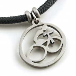 Mountain Bike Spirit Pendant | Stainless Steel | 3mm Polycord