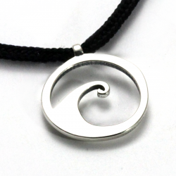 Wave Pendant | Sterling Silver | 2mm Polycord