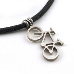 Mountain Bike Pendant | Stainless Steel | 3mm Polycord