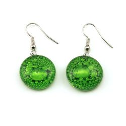 Green Round Earrings | Fused Glass