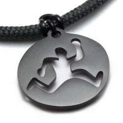 Run Trail Guy Pendant | Black Stainless Steel | 3mm Polycord