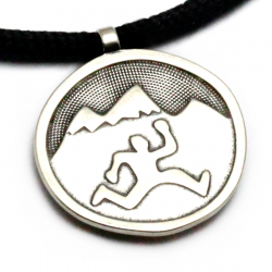 Mountain Run Guy Pendant | White Bronze | 3mm Polycord