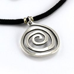 Spiral Pendant | Sterling Silver | 2mm Polycord