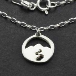 Mountain Spirit Charm Necklace | Sterling Silver | 18 inch Silver Chain
