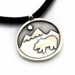 Bear Happy Pendant | Sterling Silver | 2mm Polycord