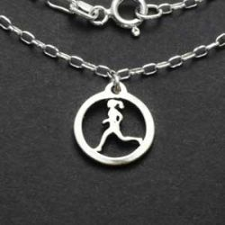 Running Gal Charm Necklace | Sterling Silver | 18 inch Silver Chain