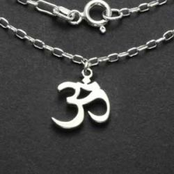 Om Charm Necklace | Sterling Silver | 18 Inch Silver Chain