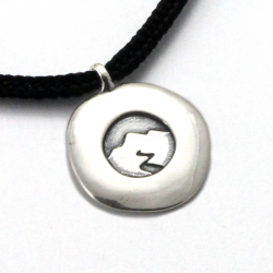 Mountain Spirit Disc Pendant | Sterling Silver | 2mm Polycord