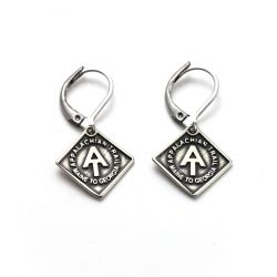 AT Earrings | White Bronze
