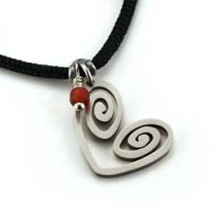 Heart Spiral Pendant | Stainless Steel | 2mm Polycord