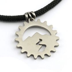 Mountain Spirit Cog Pendant | Stainless Steel | 3mm Polycord