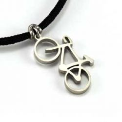 Road Bike Pendant | Stainless Steel | 2mm Polycord