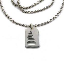 Cairn Charm Necklace   Stainless Steel   1.5mm Ball Chain