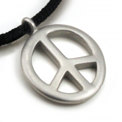 Peace Symbol Pendant | Stainless Steel | 2mm Polycord
