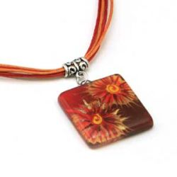 Red Flower Pendant | Fused Glass