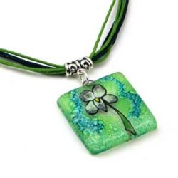 Green Flower Pendant | Fused Glass