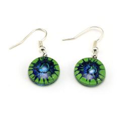 Green Star Earrings | Fused Glass