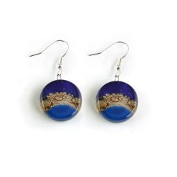 Blue Black Earrings | Fused Glass