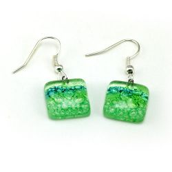 Green Flower Earrings | Fused Glass