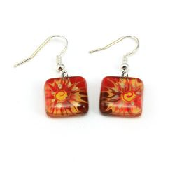 Red Flower Earrings | Fused Glass