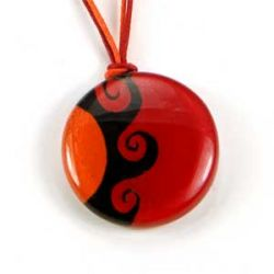 Red Sun Pendant | Fused Glass