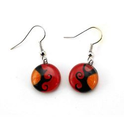 Red Sun Earrings | Fused Glass