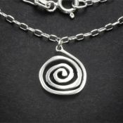 Spiral Charm Necklace | Sterling Silver | 18 inch Silver Chain