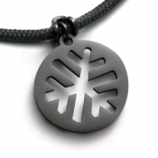 Snowflake Pendant | Black Stainless Steel | 3mm Polycord