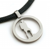 Hiking Guy Pendant | Stainless Steel | 3mm Polycord