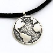 Globe Pendant | Sterling Silver | 2mm Polycord