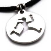 Run Trail Gal Pendant | Stainless Steel | 2mm Polycord