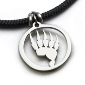 Bear Paw Pendant | Stainless Steel | 3mm Polycord
