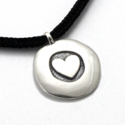 Heart Love To Run Disc Pendant | Sterling Silver | 2mm Polycord
