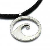 Wave Pendant | White Bronze | 3mm Polycord