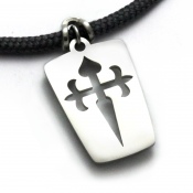 Camino Pilgrim Cross Pendant | Stainless Steel | 3mm Polycord