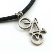 Road Bike Pendant | Stainless Steel | 3mm Polycord